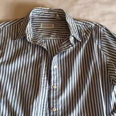 Lands' End Big Button Down Shirt Nice cotton poly blend, lightweight fabric. Blue and white striped button down, big fit, size 10.  Great over a tank, tee, or solo. I wore it once. Lands' End Tops Button Down Shirts