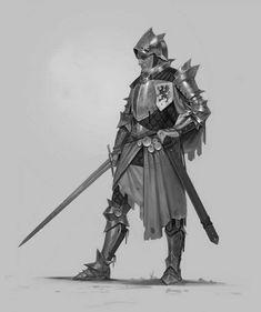 ArtStation - B&W Knight, Vladimir Buchyk Medieval Armor, Medieval Fantasy, Fantasy Armor, Dark Fantasy, Armor Concept, Concept Art, Fantasy Inspiration, Character Inspiration, Fantasy Character Design