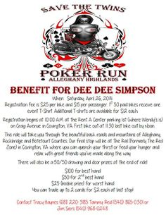 Covington, VA - April 26, 2014: Save the Twins motorcycle Poker Run for Dee Dee Simpson.