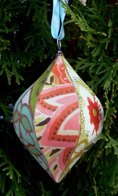 handcrafted vintage wallpaper ornament by dogbutterfly on Etsy, $15.00
