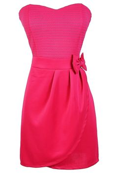 Bow With Me Strapless Dress in Hot Pink  www.lilyboutique.com