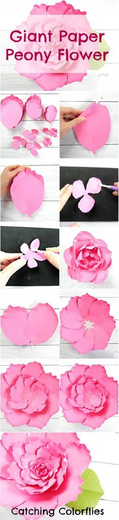 Giant Paper Flower Peony. How to make large paper peony flowers. Printable flower templates. DIY paper flowers. #DIY