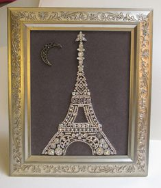 Jeweled Framed Jewelry Eiffel Tower Paris Silver Gray Rhinestone Vintage Fabulous by audreymivey on Etsy