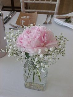 Centerpieces: Simple tube with peony rose and gypso .- Mittelstücke: Einfaches Gefäß mit Pfingstrosenrose und Gypsophilie – Centerpieces: Simple vessel with peony rose and gypsophilia – # Centerpieces - Peonies Centerpiece, Floral Centerpieces, Floral Arrangements, Flower Arrangement, Wedding Table, Diy Wedding, Wedding Simple, Bridal Shower Centerpieces, Peony Rose