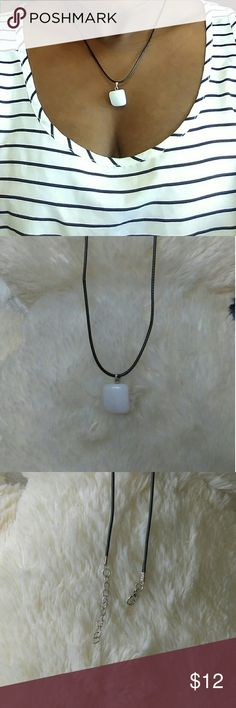 NWOT Fashion White Marble Stone Charm Necklace 🌸trendy style 🌸unisex 🌸suitable for Women, men, girl, boy, lady 🌸perfect Christians and birthday gift and yourself 🌸material: black leather string cord chain with lobster claps 🌸stone: White Marble 🌸measurement: 45cm+5cm (18in+1in)  🏵Bundle and save  🏵make an offer  🏵smoke and pet free home. Jewelry Necklaces