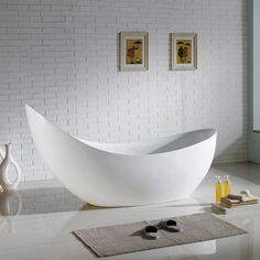 "79"" Hialeah Acrylic Freestanding Bathtub, Modern Tub, White, Center Drain"