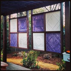 Ceiling tiles. (source: Matt Blashaw) Outdoor Spaces, Indoor Outdoor, Outdoor Projects, Diy Projects, Yard Crashers, Diy Network, Ceiling Tiles, Yard Art, Patio Ideas