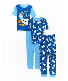 Another great find on #zulily! Blue Frozen Olaf Four-Piece Pajama Set - Boys #zulilyfinds