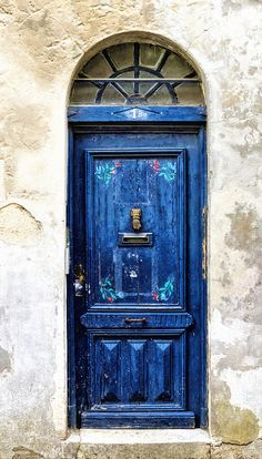 Aquitaine, France, blue, wooden door, curve, details, window, entrance, doorway, weathered wall, beauty, photo