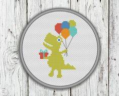 Birthday Dino Counted Cross Stitch Pattern by CrossStitchShop