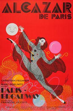 Alcazar De Paris Broadway Dinner Dance Show Erte 1950s - original vintage poster by Romain de Tirtoff Erte listed on AntikBar.co.uk