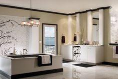Contemporary Master Bathroom with Rain Shower Head, Drop-In Bathtub, Complex marble counters, Undermount Sink, Pendant Light