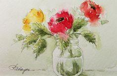 Three Flowers Original Watercolor Painting Floral-Rose Ann Hayes