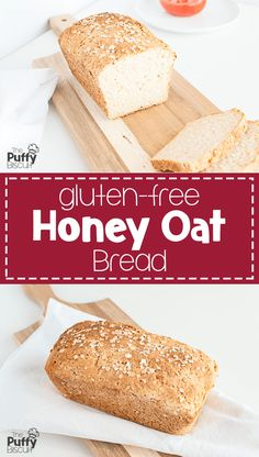 Gluten-Free Honey Oat Bread - The Puffy Biscuit - Food Recipe Gluten Free Bread Brands, Gluten Free Oats, Gluten Free Chocolate, Gluten Free Baking, Gluten Free Recipes Without Eggs, Gluten Free Dairy Free Bread Recipe, Gluten Free Sourdough Bread, Pains Sans Gluten, Honey Oat Bread