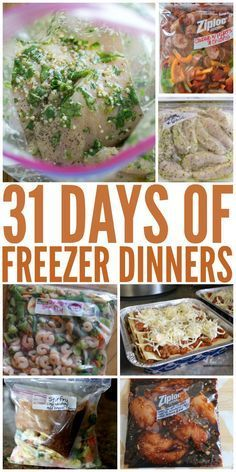 Healthy Meals 31 Days of Freezer Dinners - Freezer Meal recipes WILL make mealtimes easier! To get you started, here's a month's worth of freezer dinners for inspiration! Make Ahead Freezer Meals, Freezer Cooking, Easy Meals, Freezable Meals, Meals That Freeze Well, Bulk Cooking, Crock Pot Freezer, Make Ahead Healthy Meals, Freezer Meal Party