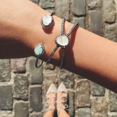 Cobble together a major fashion moment this season with our opalescent cuffs! #fashion #style #spring #summer #jewelry