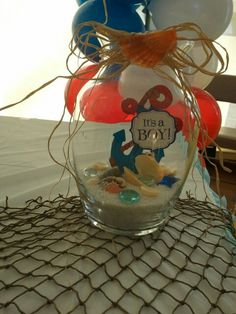 Ship ahoy it's a boy centerpieces Sailor Baby Showers, Anchor Baby Showers, Beach Baby Showers, Baby Shower Games, Baby Shower Parties, Baby Boy Shower, Baby Shower Favors, Nautical Baby, Nautical Theme
