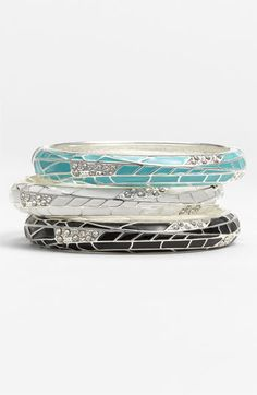 Sequin Small Insect Wing Enamel Bangle :: a trio of color