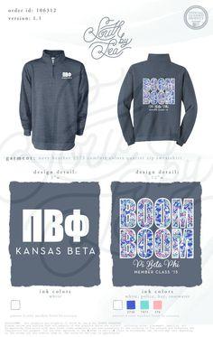 Pi Beta Phi | Boom Boom | Senior Year Shirt Design | South by Sea | Greek Tee Shirts | Greek Tank Tops | Custom Apparel Design | Custom Greek Apparel | Sorority Tee Shirts | Sorority Tanks | Sorority Shirt Designs