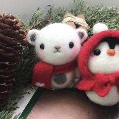 Handmade needle felted felting cute animal project bear penguin felt d   Feltify