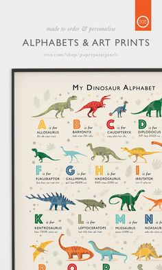 Transport your little ones room back to the Jurassic Era with this Dinosaur Theme Alphabet Print made to order at PaperPaintPixels Visit my Etsy Store to grab yours! #dinosaurbedroom #dinosaurwallart #dinosaurprint #nurseryart #kidsroomart