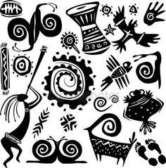 Downloaden - Elementen voor het ontwerpen van primitieve kunst — Stockillustratie #3087088 Native Art, Native American Art, Primitive Kunst, Art Indien, Art Du Monde, Ornaments Image, Afrique Art, Dancing Figures, Tatoo Art