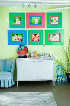"""these  bright colors are not for the faint of heart, but in the right location and with the right images, this frame selection would be the focal point for a room.  And what is better for decorating a nursery than pictures of """"baby?"""""""