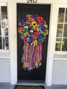 Purple Fiesta wreath on a customer's door! DecoGlitz on Etsy