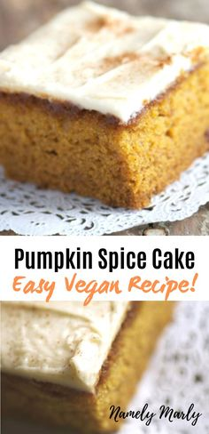 This easy vegan Pumpkin Spice Cake Recipe creates a tender cake with a creamy spiced frosting. Spice Cake Recipes, Pumpkin Cake Recipes, Pumpkin Spice Cake, Vegan Dessert Recipes, Pumpkin Dessert, Easy Cake Recipes, Vegan Sweets, Recipe Spice, Vegan Pumpkin Cake Recipe
