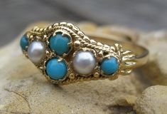 Victorian Turquoise & Pearl 14k Ring, Shop Rubylane.com