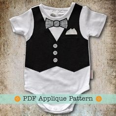 Vest Applique Pattern PDF Template Vest and Bow Tie Applique Pattern for Baby Bodysuit, Onesie or Tshirt Vest Appliqued Onesie Pattern. $4.00, via Etsy.