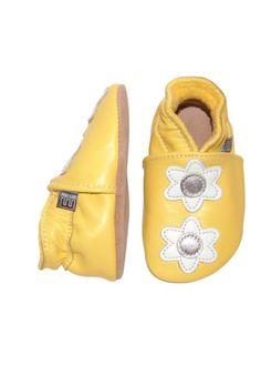 Lederen sloefjes geel   Kousen   Accessoires