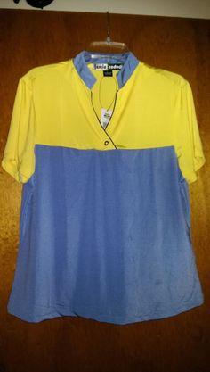40.99$  Watch here - http://viwjy.justgood.pw/vig/item.php?t=mz6z0e47329 - NWT JAMIE SADOCK Short Sleeve XANADU Periwinkle Yellow Golf Shirt - size L $89