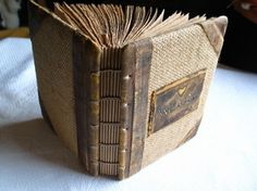 Coptic stitch vintage look jute and leather journal 8 by crearting, $80.00
