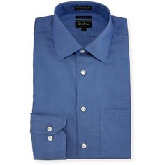 Neiman Marcus Trim-Fit Non-Iron Neat Dress Shirt ($46) ❤ liked on Polyvore featuring men's fashion, men's clothing, men's shirts, men's dress shirts, blue willo, mens patterned dress shirts, mens long sleeve shirts, mens print shirts, mens patterned shirts and mens floral print dress shirt