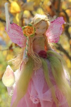 The Spring Rose Fairy : Waldorf Inspired, One of a Kind Fairy Mobile. $85.00, via Etsy.
