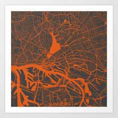 Hamburg Map Art Print by Map Map Maps - $18.00---------------------------If you like my work, you can folllow my Facebook account : https://www.facebook.com/MapMapMaps