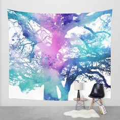 Surreal Tree Wall Tapestry, Nebula Decor, Dorm Decor, Tree Tapestry, Tree Tapestry, Star Dust Art, Oak tree, Watercolor, Outer Space