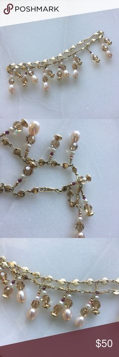 Anklet pearl & bead dangling - gold seashell chain Handmade anklet - never worn  Gold seashell chain with pearl and bead dangling embellishments Ask questions if necessary  OFFERS Jewelry