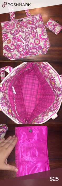 Vera Bradley Tote & Wallet Set Bundle!! -Sold Together- Beautiful pink, purple, & gray paisley design. Wallet never used!! Tote was used, but still in extremely good condition!! Vera Bradley Bags Totes
