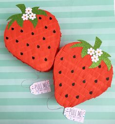 "How BERRY sweet this Strawberry Piñata! Perfect to send as a thank you, birthday or even ""I'm berry sorry"" gift! Surprise Piñata is a gift delivery service of personal sized pinatas! Fill it with pretty much anything and ship across the United States! Surprisepinata.com"