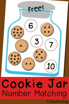 FREE printable counting game for preschoolers. Count the chocolate chips on the cookies and match them to the number in the cookie jar.