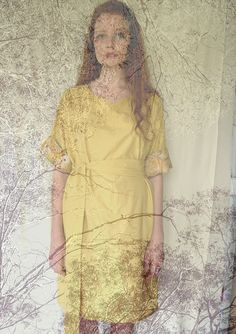 Organic cotton vegetable dyed dress with vintage embroidered sleeves... Clothing|styling|photography mady dooijes