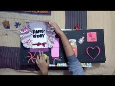 If you want to make a scrapbook then you need this tutorial on scrapbook ideas DIY how to make a basic scrapbook page. The first thing you should do i. Papel Scrapbook, Handmade Scrapbook, Birthday Scrapbook, Scrapbook Paper Crafts, Scrapbook Albums, Scrapbook Cards, Scrapbooking Ideas, Birthday Explosion Box, How To Make Scrapbook