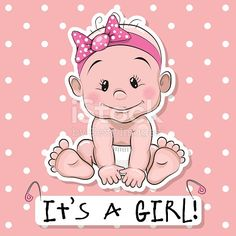 Greeting card it's a girl with baby on a pink dots background