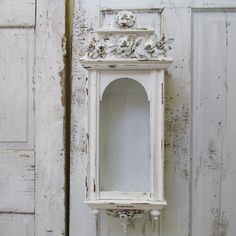 Wood and glass display case large hand painted white distressed wall hanging French Nordic ornate showcase or shrine home decor