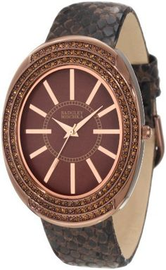 Badgley Mischka Women's BA/1195BMBN Swarovski Crystal Accented Large Brown Ion-Plated Oval Case Brown Python Print Leather Strap Watch Badgley Mischka. $175.00. Brown colored genuine mother-of-pearl dial with rosegold-tone stick markers at all hours. Rosegold-tone hour, minute and second hands. 156 smoked topaz colored genuine swarovski crystals in bezel. Polished brown ion-plated 35 mm wide oval case. Brown python print genuine leather strap with brown ion-plated buckle