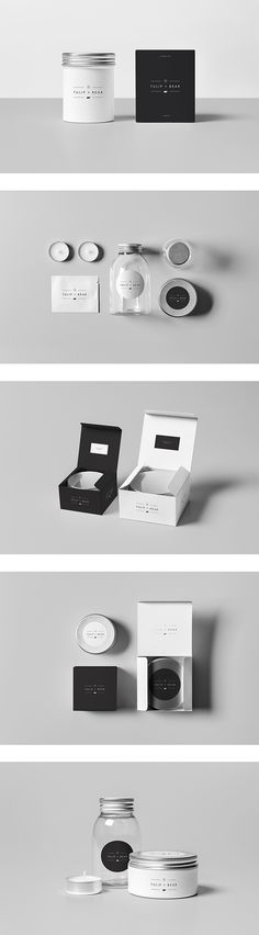 Tulip&Bear luxury soy candles branding on Behance . Art of Package . Black and White . Candle Branding, Candle Packaging, Pretty Packaging, Beauty Packaging, Cosmetic Packaging, Brand Packaging, Packaging Ideas, Label Design, Box Design