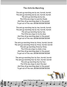 The Ants Go Marching lyrics, printout, midi, and video. Camp Songs, Fun Songs, Songs To Sing, Kids Song Lyrics, Kindergarten Songs, Preschool Music, Preschool Themes, Nursery Songs, Nursery Rhymes