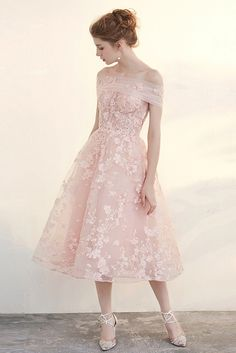 Vintage Pink Tea Length Wedding Dresses